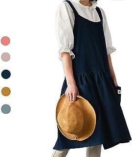 NOOS Soft Cotton Linen Apron Women Pinafore Dress, Halter Cross Bandage Cooking Aprons, Fashion Coffee Shop Waist Kitchen ...