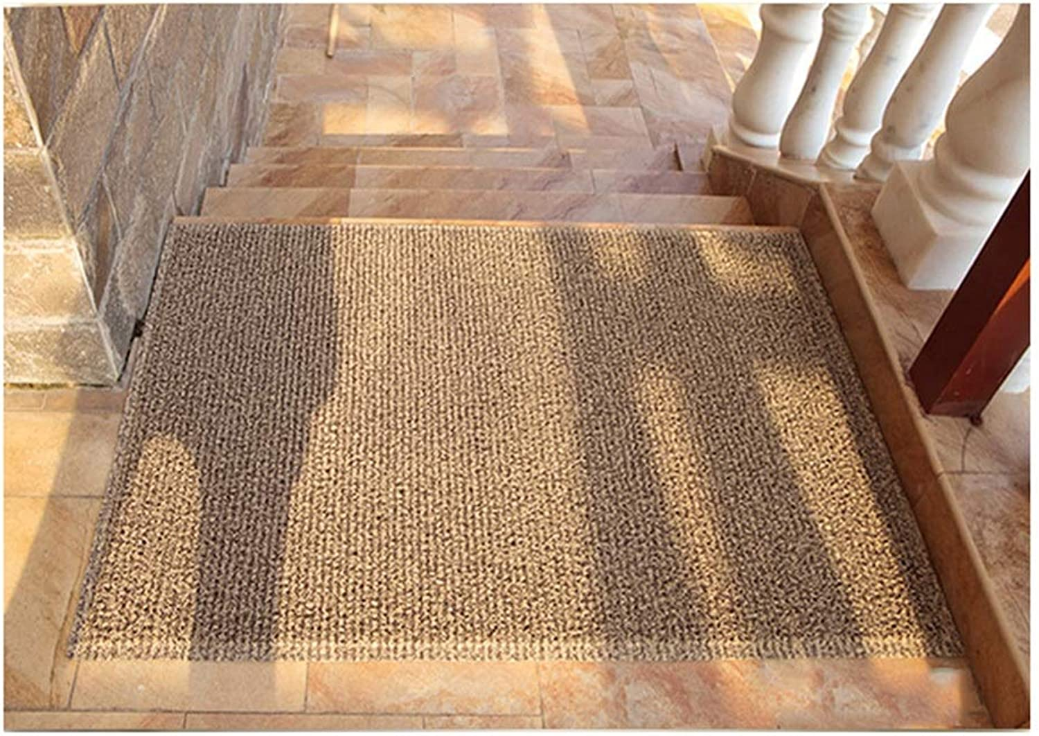 JIAJUAN Front Doormat Entrance Durable Washable Non Slip Dirt Trapper Floor Mat Indoor Outdoor, 8mm, 3 Colours, 4 Sizes (color   Brown, Size   60X120cm)