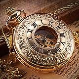 J-Love Reloj de Bolsillo mecánico de Doble Tapa con Personalidad Retro de Gama Alta, Reloj de Collar con Collar de Hombre Romano Hueco Vintage