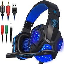 Auriculares de juego con micrófono y luz LED para ordenador portátil, PS4 y Xbox One, auriculares DLAND de 3,5 mm con aislamiento acústico de ruido de sonido - control de volumen (negro y azul)