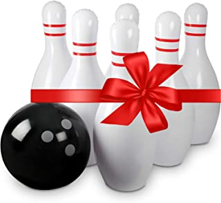 Kids Bowling Set for Kids - Includes One Big Ball and 6 Giant Inflatable Bowling Pins Jumbo Bowling Set Game - Great Party Inflatable Games for Kids