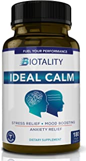 Ideal Calm Natural Stress and Anxiety Relief Supplement | Mood Booster and cortisol Manager with Ashwagandha, Magnesium, 5...