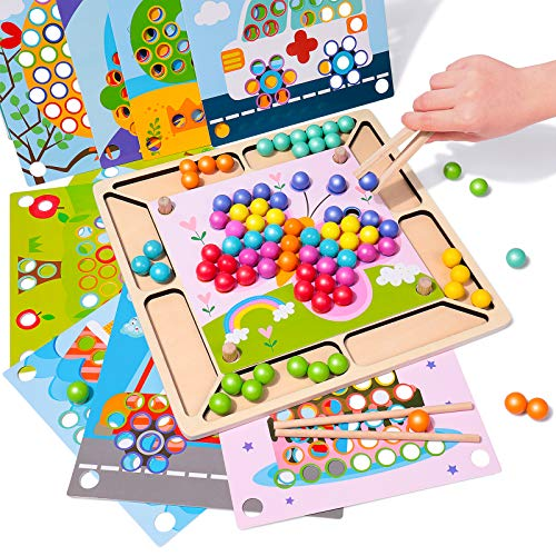 Rolimate Holzspielzeug Brettspiele Clip Perlen Puzzle, Montessori Spielzeug Vorschule Lernspielzeug Gedächtnistraining Aids für Kinder Puzzle Geburtstagsgeschenk für 3 4 5 + Jahre alt Jungen Mädchen