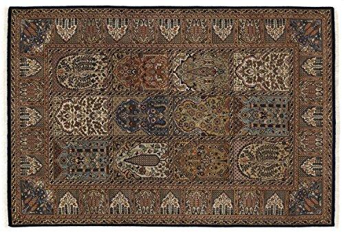 KIAN GHOM echter klassischer Orient-Felder-Teppich handgeknüpft in blau-blau, Größe: 80x300 cm