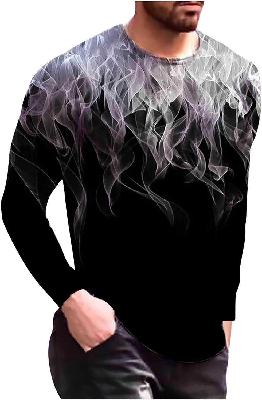 Mens Long Sleeve Tops 3D Printed Pullover Tee Crewneck Casual Slim Fit T-Shirts Print Pattern Shirt