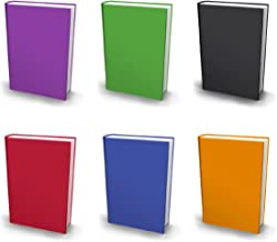 Stretchable Book Covers, Jumbo, Set of 6, Solid Colors Fabric Bookcovers, Fits Extra Large Hardcover Textbooks up to 9 x 12, Stretchy Book Covers, Washable & Reusable, Value Pack, with Bookmark
