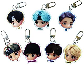 KPOP BTS Cartoon Key Ring Set Merchandise Bangtan Boys Acrylic Keychain Gift for Army Girls