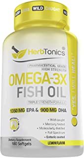High Strength Omega 3 Fish Oil Supplement 3750MG NSF-Certified (EPA 1350MG + DHA 900MG) 180 Capsules - Fish Oil Omega 3 Pi...