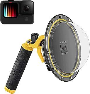 TELESIN Dome Poort voor GoPro Hero 10 Hero 9 Zwart, Waterdichte Behuizing Duiken Lens Cover Transparante Case met Pistool ...