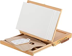 Magicfly Wood Table Top Easel, Adjustable Desk Easel with Storage Drawer,5 Canvas and 1 Paint Palette,Beechwood - Portable Artist Easel Top Board, Wooden Drawing Board Easel for Canvas Painting