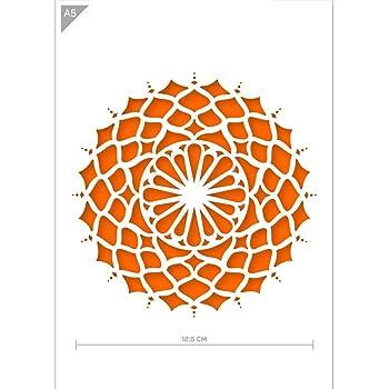 A4 21 x 29,7cm Mandala Durchmesser 18 cm Karton oder Plastik QBIX Mandala Schablone Plastik W/ände und M/öbel Handwerk Wiederverwendbare kinderfreundliche Schablone f/ür Malerei