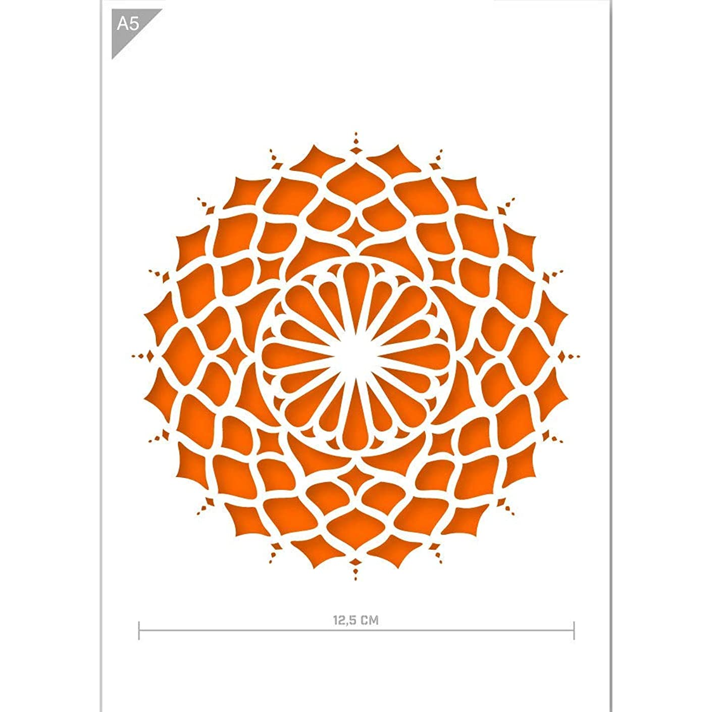 Qbix Mandala Stencil - A5 Mandala Stencil for Furniture, Walls, Floors - Mandalas for DIY Home Decor - Mandala Stencil for Painting, Crafts, Arts, Baking, Crafts, Wall, Furniture