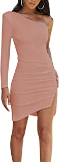 Womens Sexy One Shoulder Ruched Backless Side Slit Mini Party Club Dress