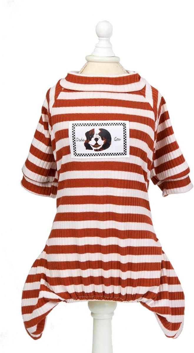 Yunle Dog Striped Recommendation Cotton Denver Mall T-Shirts Pet Vest Soft Basic Breathable