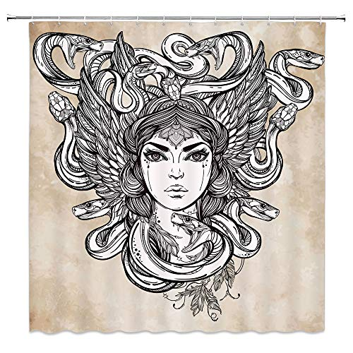 jingjiji Greek Woman Shower Curtain Medusa Mythology Goddess Witch Snake Head Retro Snake Banshee Bathroom Decor Curtains Polyester Fabric with Hook 70 x 70 Inch Brown