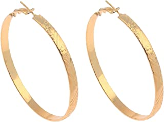 Gold Polished Fashion Floral Embossed Flat Band Hoop Earrings (5mm x 60mm)