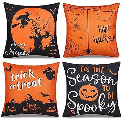Halloween Pillow Covers 18x18 Set of 4, Hallowe...