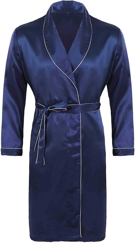 ACSUSS Mens Long Sleeves Silky Satin V Neck Bathrobe Nightgown Kimono Romper Pajamas Robe Sets