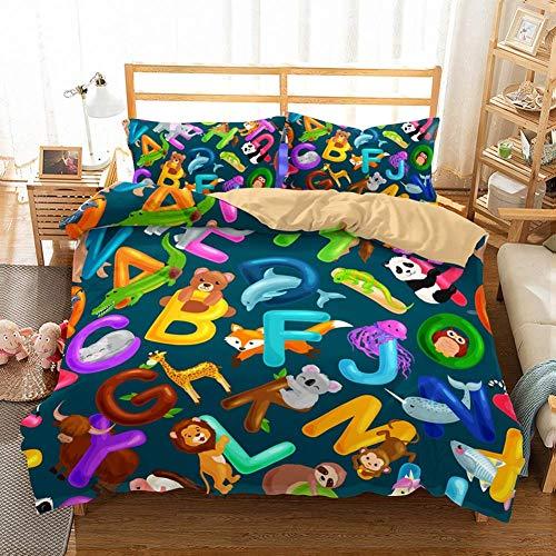 Kids Bed Set 3D Cartoon Bear Fox Mouse Lion Abc Letters Bedspread Boys Girls Duvet Cover Set Blue 2 Pieces With 1 Duvet Cover 1 Pillowcase