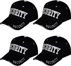 Online Best Service 4 Pack Security Hat Cap Uniform Hats,(One Size) Black