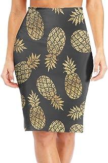 Women's Midi High Waist Skirt Fashion Pencil Skirt Knee Skirts for Office Wear Headphones On Dark Green Stripes