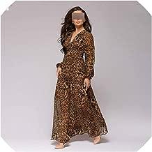 Women Sexy Leopard Printed V Neck Chiffon Long Dress New Full Lantern Sleeve Bohemian Women Casual Beach Dress