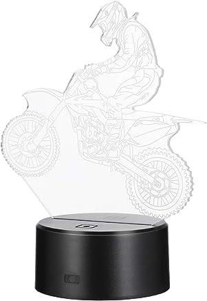 Uonlytech 子供部屋のクリスマスのハロウィンのための視覚軽いタッチスイッチ多彩なオートバイ3Dの幻影ランプ
