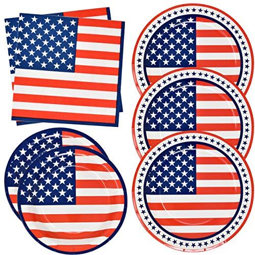 Patriotic American Flag Party Supplies Tableware Set 50 9