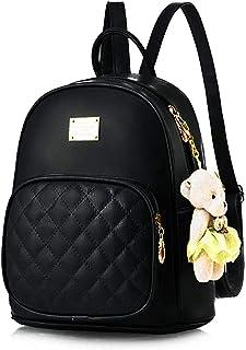Kausbabi® Girls Fashion Backpack Cute Mini Leather Backpack Purse for Women (KB-0032-BLACK)