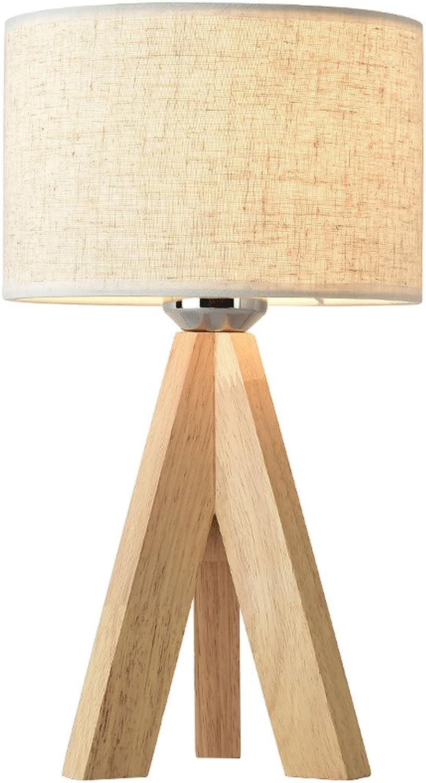 WSXXN Nordic Moderne Minimalistische Original Holz Lichter Gemütliche Stoff Lampe Tischlampe Wohnzimmer Schlafzimmer Nacht Studie Mode Leuchte (Farbe   Hanf-High 32cm)