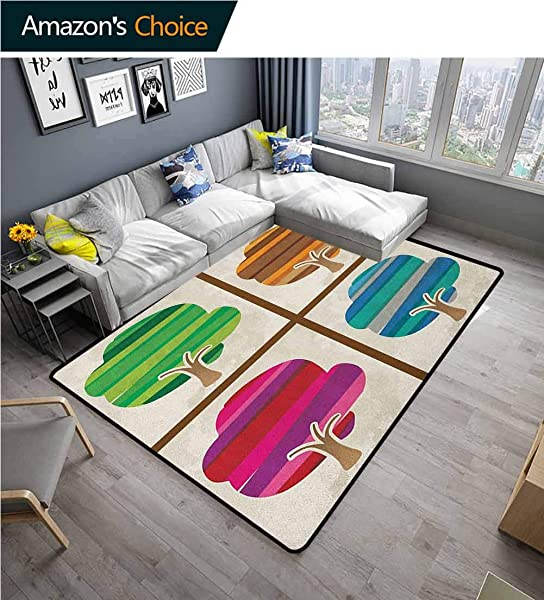 Modern Solid Door Mat Welcome Striped Tree Silhouettes In Spring Fall Winter Summer Seasons Artwork Collection Durable Carpet Area Rug Living Dinning Room Bedroom Rugs And Carpets 6 X 9