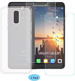 YZKJ Case for HISENSE (F24) Infinity H11 Lite Cover + 2 x Screen Protector Tempered Glass Protective Film - Flexible Soft Gel Crystal Translucent TPU Silicone Protection Case for (5.99