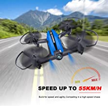 Mini Drone Racing Drone Quadcopter 720P Wide Angle HD Camera Live Video Headless Mode One Key Return 3D Flips 2.4GHz 6 Axis Gyro Remote Control Helicopter RC Drone Boys Adults Toys Red+Blue