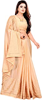 Poly Silk new Cream Colors Siroski Stone Work Embroidery Saree