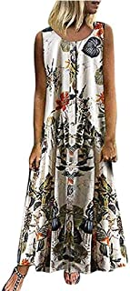 MK988 Women's Plus Size Sleeveless Bohemian Print Floral Print Summer Beach Party Maxi Dress Sundress