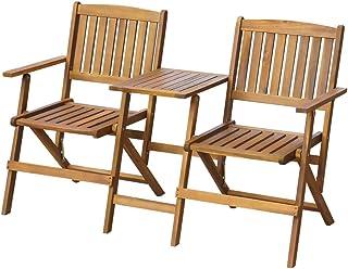 GOTOTOP - Banco de jardín plegable con mesa de jardín de madera de acacia sólida, conjunto de 2 sillas y 1 mesa 2 en 1, 140 x 60 x 88 cm