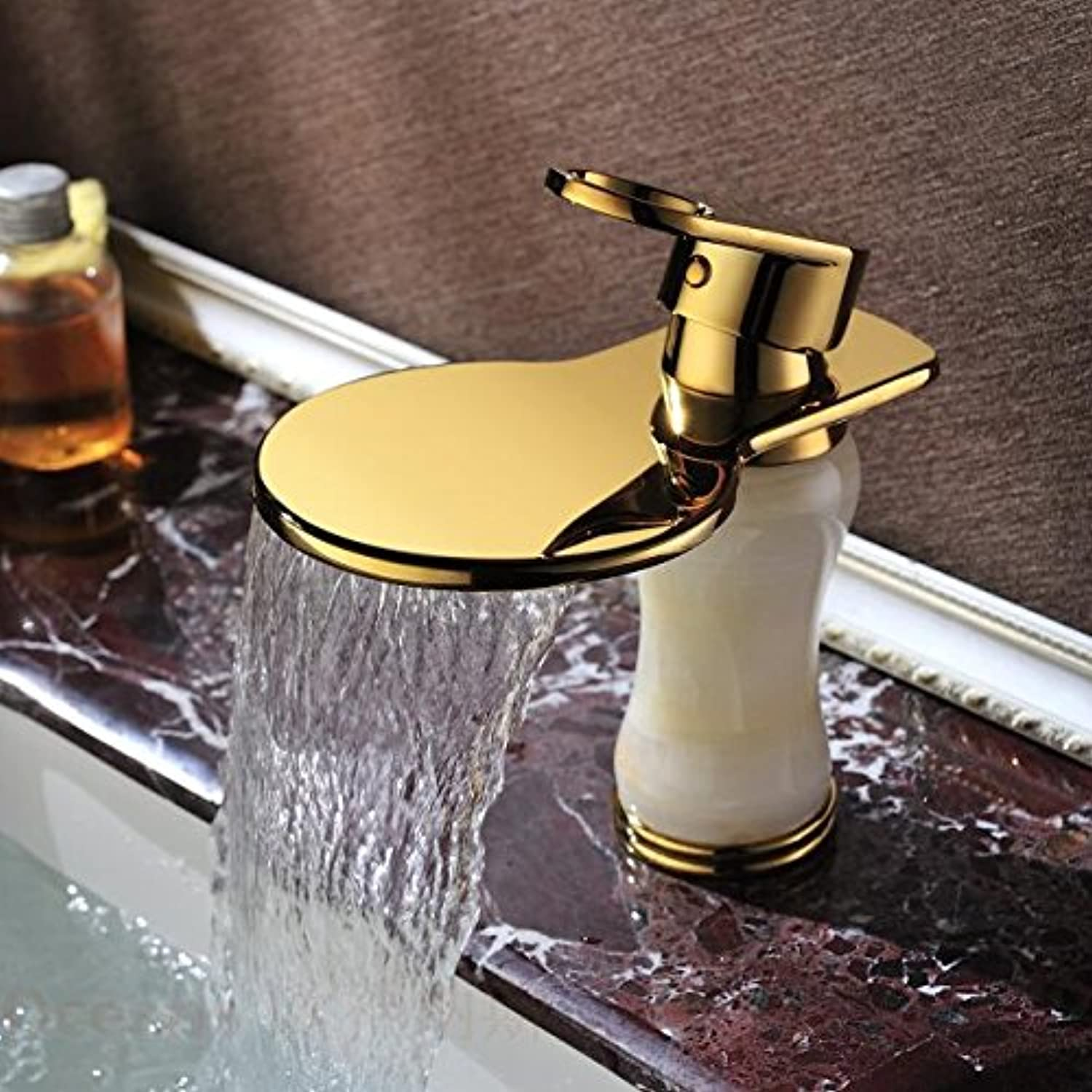 Gyps Faucet Basin Mixer Tap Waterfall Faucet Antique Bathroom Mixer Bar Mixer Shower Set Tap antique bathroom faucet Pseudo-classic marble gold plated waterfall faucet hot and cold full copper natural