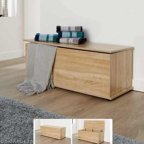 GB Furniture Wooden Ottoman Storage Box Chest Bench Seat Toy Beddin Blanket  Trunk Cabinet Lid 80a461f2e19a