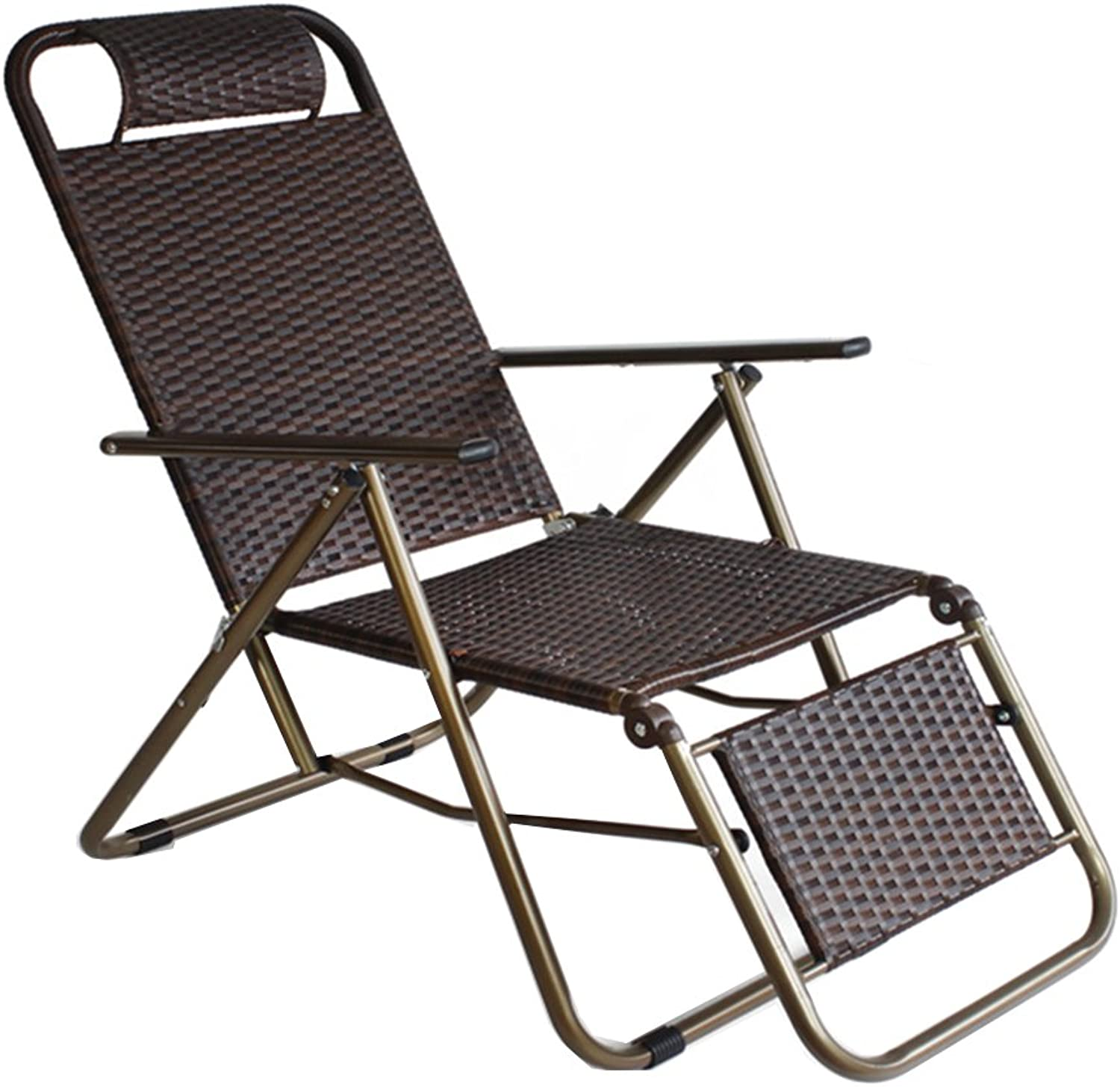 DKJH DLDL Summer Reinforced Wicker Chair Folding Chair Lazy Chair Tri Fold Square Pipe Wicker Chair