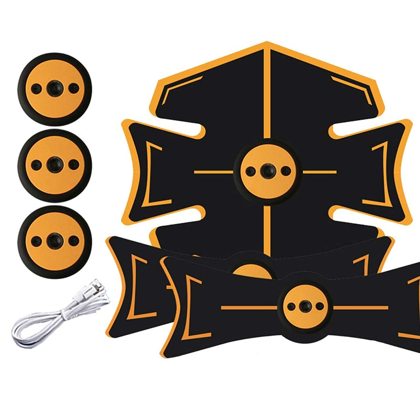 財団芽枕腹部刺激装置、腹部調色ベルト、マッスルトナー、ポータブルマッスルトレーナー、ボディマッスルフィットネストレーナー9モード&15レベル腹部用シンプル操作