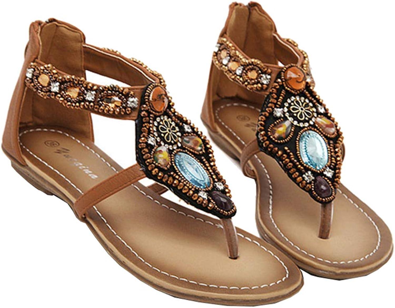 AGOWOO Women Sandals Jeweled Beaded Thong Zipper Beach Sandles