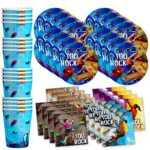 Birthday Galore Rock Climbing Party Supplies Set Plates Napkins Cups Tableware Kit for 16