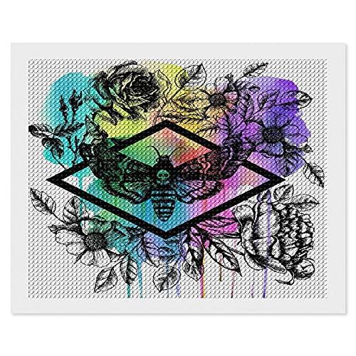 Kit de pintura de diamantes para adultos,Death 's Head Hawk Moth y flores florales bricolaje 5D diamante redondo bordado