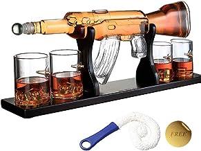 1000Ml M16 Gun Large Decanter Set Bullet Glasses,Elegant Rifle Whiskey Decanter with 4 Bullet Whiskey Glasses and Mohogany...