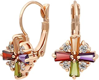 Colorful Cubic Zirconia Leverback Dangle Earrings Rose Gold Plated Jewelry for Women