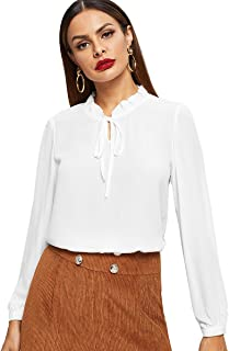 Romwe Women's Solid Elegant Bow Tie Neck Long Sleeve Work Office Blouse Top