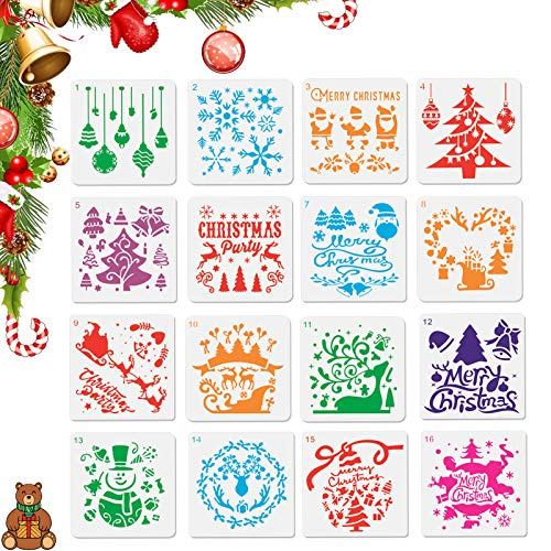 Plantillas Dibujo niños,16 piezas kit de dibujo de plantilla de navidad de plástico reutilizable,Plantillas para Manualidades,Usado para Scrapbooking, Diario,Pintura,DIY Decoración de Navidad