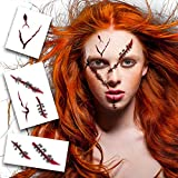 Chucky Doll Scar Temporary Tattoos   Halloween Costume Tattoo Kit   Pack of 2   Skin-Safe   MADE IN USA   Removable