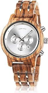 BOBO BIRD Women Wooden Watches Luxury Wood Metal Strap Chronograph & Date Display Quartz Watch Fashion Zebra Wood Casual B...