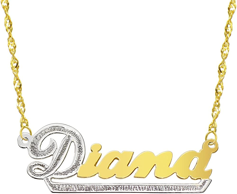 Pyramid Jewelry 14K Two Tone Gold Personalized Name Plate Necklace - Style 10 - Customize Any Name